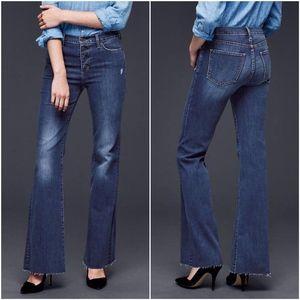 Gap Blue Denim High Rise Authentic Flare Jeans